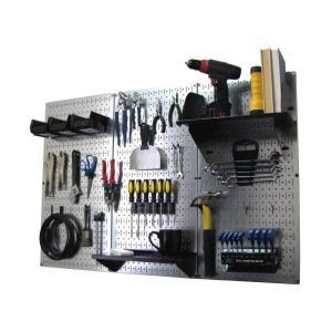 工具・壁掛けペグボードキット 3panel Silver (ペグカラー:Black)|global-shop-rb