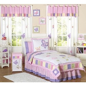 Pink and Purple Butterfly Queen Bed Skirt by Sweet Jojo Designs|global-work