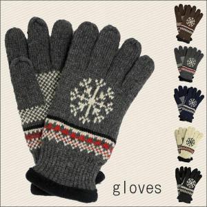 手袋 フリース手袋 メンズ スノーデザイン ノルディック柄 紳士手袋 あったか フリース ウール ニット