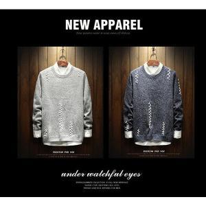 メンズ ファッション 長袖 秋 冬 ニットセーター  無地セーター   クルーネック|globalstyleclub