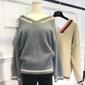 レディース セーター ロングセーター  トップス カジュアル 一字襟 Vネック 長袖 肩だし カットソー ニット|globalstyleclub