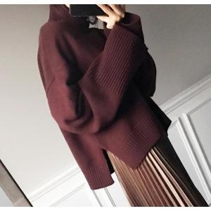 レディース セーター ニット 長袖 ゆったり サイドスリット オフネック|globalstyleclub