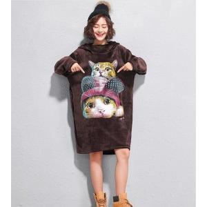 パーカーワンピース レディース プルオーバー 長袖 ボリュームネック フード付き 大きいサイズ ベルベット 猫柄|globalstyleclub