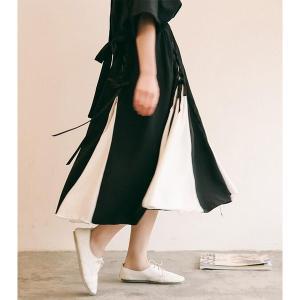 スカート シフォン ロングスカート レディース リボン編み 黒白 カジュアル|globalstyleclub