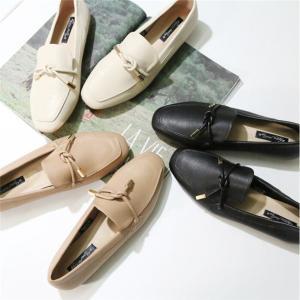 レディース フラットシューズ ぺたんこ靴 オペラシューズ スクエアトゥ靴 リボン付き|globalstyleclub