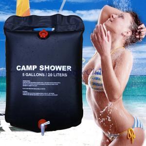 新しい20/5ガロンソーラーエネルギー温水キャンプシャワーバッグアウトドアキャンプハイキングユーティリティ貯水黒シャワー水袋|globalstyleclub