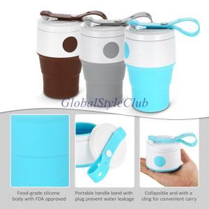 395ミリリットル折りたたみコーヒーカップ旅行折りたたみシリコン茶カップポータブル旅行水袋ボトルアウトドアキャンプピクニックカップ|globalstyleclub