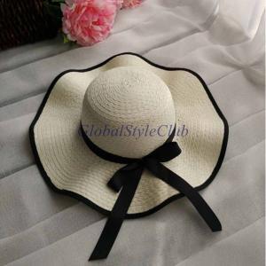 レディース ビーチ帽子夏太陽の紫外線保護優雅なフロッピーわら太陽の帽子女性女性旅行帽子|globalstyleclub