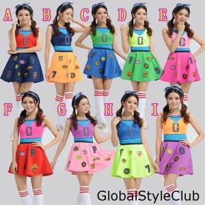 少女時代 コスチューム チアガール 応援団服コスプレ衣装 レディースチアリーディングウエア ヒップホップジャズダンス衣装 靴下付け|globalstyleclub