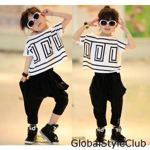 子供Tシャツセット 可愛い ヒップホップ ダンス衣装 男の子 女の子 tシャツ サルエルパンツジュニアセットアップ HIPHOP ジャズダンス 舞台|globalstyleclub