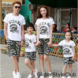 二枚夏家族お揃いウェア 男女兼用半袖Tシャツセット ハーフパンツ迷彩柄 子供 キッズ コットン 親子ペアスウェットファミリー パパママ子供|globalstyleclub