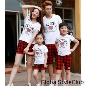 二枚夏家族お揃いウェア カップル男女兼用半袖Tシャツ+ハーフパンツ2点セットチェック柄ハートプリント子供 キッズ コットン親子ペアトップス|globalstyleclub