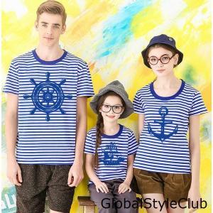 二枚親子ペア半袖Tシャツ/セーラー風家族お揃いTシャツメンズレディース子供 兄弟姉妹お揃いトップスウェア コットン ボーダー柄7色キッズ用 globalstyleclub
