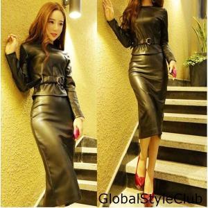 レディースPUレザージャケット+スカート■TAL0461■|globalstyleclub