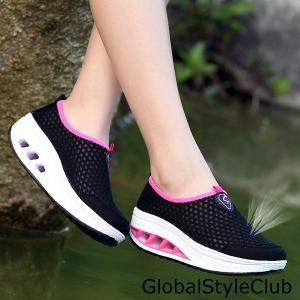 ランニングシューズ 運動靴 レディース スニーカー スリッポン メッシュ軽量 履きやすい 通気性抜群 スポーツ靴 ウォーターシューズ水陸両用|globalstyleclub