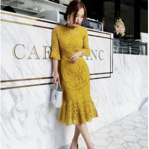 フィットしたタイトなドレス<br> レースデザインで可愛らしさもあり品もあり ■カラ―:...