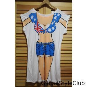 レディース メンズ日常服 個性半袖Tシャツカップル 面白い3DネタTシャツビキニ筋肉3D/上質ペアルック  コスチューム サッカーリアガール|globalstyleclub