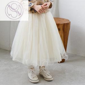 スカート キッズ ロング グレー ベージュ 女の子 子供服 かわいい 結婚式 演奏会 舞台 膝下 シフォン スカート レーススカート ファッション globalstyleclub