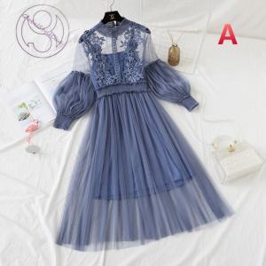 レースワンピース2点セット 結婚式 パーティードレス  長袖 ドレス ロングドレス 刺繍 ドレスレー...