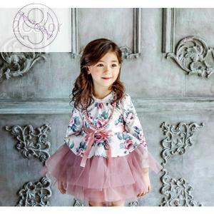 子供ドレス 子どもドレス キッズドレス フォーマルドレス チュールドレス パーティドレス 結婚式 ピアノ発表会 女の子 女児 キッズ 小学生 長袖 テの画像