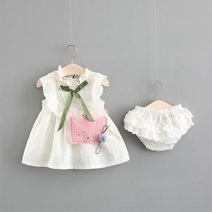 韓国子供服女の子ワンピースパンツ2点セットバッグ付き子供服ベビーお出かけ散歩海外旅行708090100cm|globalstyleclub