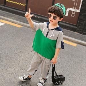 韓国子供服ユニセックススポーツウェア男の子女の子半袖Tシャツ7分丈ズボン2点セット夏服綿女の子フード付きスポーティ着90100110120130cm|globalstyleclub