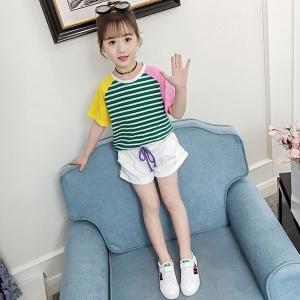 韓国子供服Tシャツ半ズボン2点セット女の子ボーダーTシャツ夏服子供用パープルグリーン110120130140150160cm|globalstyleclub