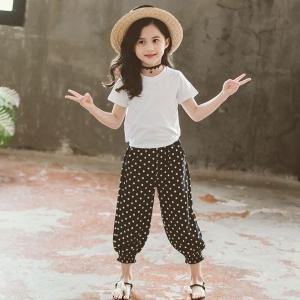 韓国子供服Tシャツ長ズボン2点セットサルエル女の子服子供用ドット柄韓国風ファッションホワイトレッドグリーン110120130140150160cm|globalstyleclub