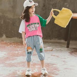 韓国子供服女の子半袖Tシャツジーンズ2点セットキッズ7分丈ズボン可愛いプリント夏服綿着心地良い遠足110120130140150160cm|globalstyleclub