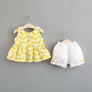 韓国子供服女の子ノースリーブシャツショートパンツ2点セットレモン柄子供服ベビーお出かけ散歩海外旅行708090100110cm|globalstyleclub