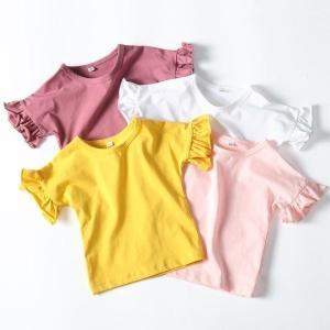 Tシャツトップス子供服キッズ服ベビー服女の子半袖無地フリルラウンドネック可愛いカジュアルシンプル夏ホワイトピンクイエローパープ globalstyleclub