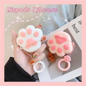 AirPods ケース シリコン 猫 犬 肉球 かわいい アップル イヤホンケース カバー エアーポ...