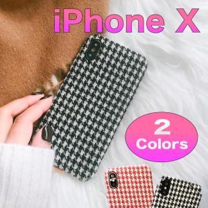 iPhone X ケース 千鳥格子柄ケース チェック 柄 [強化ガラス&タッチペン付き] ゆうパケット送料無料|glow-japan