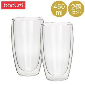 Bodum ボダム パヴィーナ ダブルウォールグラス 2個セット 0.45L Pavina 4560-10US Double Wall Thermo Tall Drink Glass set of 2 クリア 北欧