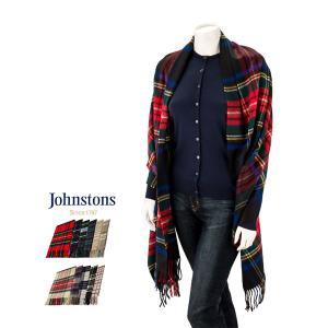 ジョンストンズ Johnstons カシミア チェック マフラー ストール 大判ストール WA000056 Stoles 100% Cashmere ひざ掛け ブランケット レディース メンズ|glv
