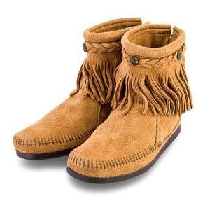 【赤字売切り価格】ミネトンカ Minnetonka ハイトップ バックジップ ブーツ スエード フリンジ Hi Top Back Zip Boot モカシン ショートブーツ レディース|glv|05