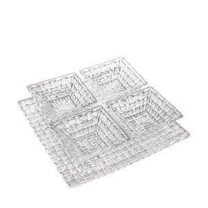 ナハトマン Nachtmann ボサノバ ボウル&プレート 5点セット スクエアプレート スクエアボウル 90023 Bossa Nova 皿 プレート 食器 ガラス|glv