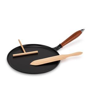 ストウブ Staub 木柄 クレープパン 28cm 1212823/40509-525-0 ブラック IH対応|glv