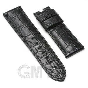 GMT オリジナルアクセサリー 革バンド パネライ ルミノール用 ストラップ クロコダイル サイズ24mm-22mm ブラック|gmt