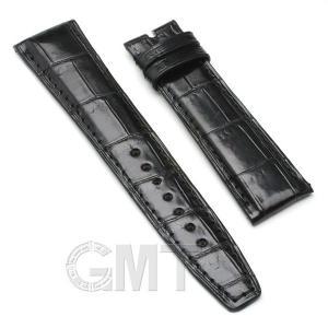 GMT オリジナルアクセサリー 革バンド IWC用 ストラップ(尾錠用) クロコダイル サイズ20mm-18mm ブラック|gmt