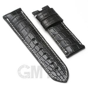 GMT オリジナルアクセサリー 革バンド パネライ ルミノール用 ストラップ クロコダイル サイズ24mm-22mm ブラック 生成りステッチ|gmt
