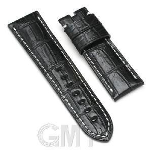 GMT オリジナルアクセサリー 革バンド  パネライ ルミノール用 ストラップ尾錠用 クロコダイル サイズ24mm-22mm ブラック 生成りステッチ|gmt