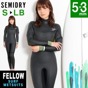 ウェットスーツ セミドライ レディース 5×3mm FELLOW ロングチェストジップ サーフィン 保温 起毛 大きいサイズ|go-island
