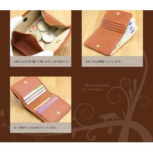 二つ折り財布 レディース CAT Motif 本革 日本製 春財布|gobangai|05
