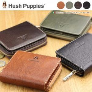 二つ折り財布 メンズ Hush Puppies(ハッシュパピー) 革 ラウンドファスナー|gobangai