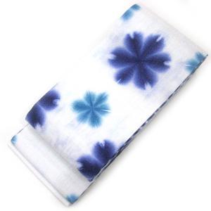 :::: 伝 統 の 絞 り 染 め ::::  京都老舗 絞染専門製造卸謹製 「 板締め絞り 」 綿麻変わり織り 雪花柄 半幅帯 gofuku-masuya