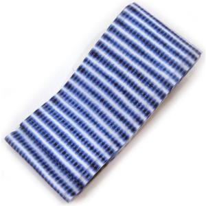 :::: 伝 統 の 絞 り 染 め ::::  京都老舗 絞染専門製造卸謹製 「 板締め絞り 」 綿麻変わり織り 横段豆絞柄 半幅帯 gofuku-masuya