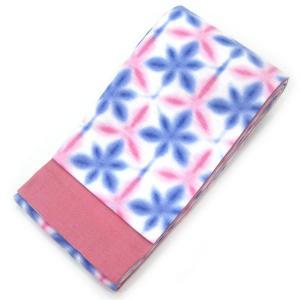◇ オトナ浴衣におすすめの逸品 ◇  伝統の捺染技が冴える ぼかし染めが絶妙なピンク&ブルーの雪花柄 半幅帯( 無地面 桃花色 )|gofuku-masuya