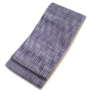 オトナ浴衣におすすめの逸品 涼しげな透かし織りが魅力  まだら縞ぼかし 麻の半幅帯   ( 裏地 変わり織り 綿100% ) gofuku-masuya
