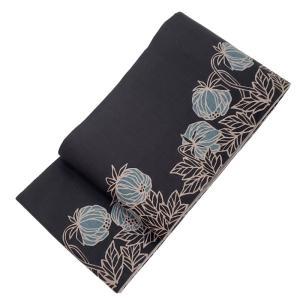お買い得品 ジャストプライス コロコロ転がる空色のホオズキ 大人の雰囲気漂う紺褐色 半幅帯 ( 無地面 薄鼠色 )|gofuku-masuya